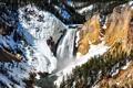 Картинка река, скалы, поток, деревья, водопад, зима, горы