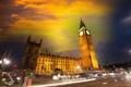 Картинка небо, ночь, город, фото, Лондон, дороги, дома