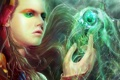 Картинка девушка, магия, шар, макияж, арт, капюшон, сфера