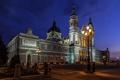 Картинка ночь, огни, собор, Испания, Мадрид, Санта-Мария-де-ла-Альмудена