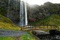Картинка мост, скала, ручей, водопад, Исландия, тропинка, Seljalandsfoss waterfall