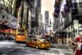 Картинка дорога, машины, город, люди, улица, HDR, такси