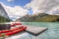 Картинка лес, облака, горы, озеро, лодки, Канада, Альберта
