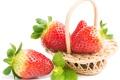 Картинка мята, клубника, листики, корзинка, ягоды
