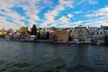 Картинка небо, город, река, фото, чайки, дома, Австрия