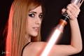Картинка взгляд, Девушка, световой меч, ситх, простой фон