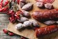 Картинка sausage, peppers, колбаса, перец