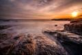 Картинка море, небо, солнце, облака, закат, камни, скалы