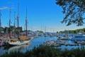 Картинка небо, деревья, лодка, яхта, порт, залив, стоянка