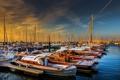 Картинка утро, пристань, лодки, рассвет, яхты