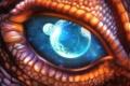 Картинка чешуя, космос, дракон, глаз, арт, планеты, dragon