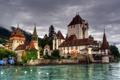 Картинка озеро, замок, Швейцария, Castillo Oberhofen