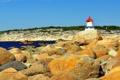 Картинка море, камни, побережье, маяк, Норвегия, катер, Ostfold