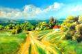 Картинка дорога, облака, рисунок, дома, кусты, сопки