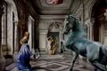 Картинка девушки, лошадь, картина, арт, арфа, колонны, скульптура