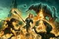 Картинка девушка, оружие, огонь, доспехи, бой, фэнтези, Kerem Beyit