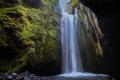 Картинка мох, Iceland, водопад, Исландия, зелень, гора