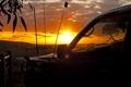 Картинка небо, солнце, закат, забор, Машина, горизонт