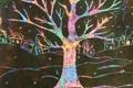 Картинка зима, ночь, дерево, дома, радуга, деревня