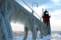 Картинка ice, sky, sea, lighthouse.frozen