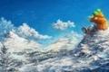 Картинка облака, снег, деревья, горы, сноуборд, Девушка, сидит