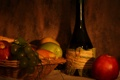 Картинка корзина, яблоки, бутылка, виноград