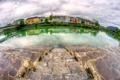 Картинка небо, облака, мост, река, дома, Австрия, ступени