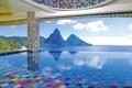 Картинка горы, океан, отдых, вид, бассейн, экзотика