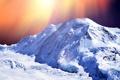 Картинка солнце, лучи, снег, блики, гора