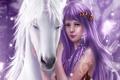 Картинка украшения, лошадь, Девушка, крылья, единорог, белая