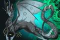 Картинка взгляд, фон, узоры, дракон, крылья, арт, хвост
