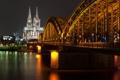 Картинка ночь, мост, огни, Германия, собор, Кёльн