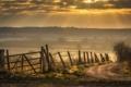 Картинка дорога, закат, забор