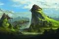 Картинка пейзаж, горы, фантастика, холмы, водопад, арт, форт