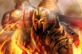 Картинка огонь, молот, арт, шлем, Prometheus, God of Flame