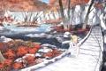 Картинка осень, мост, река, рисунок, дорожка, девочка, asakura masatoki