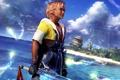 Картинка вода, город, меч, парень, Final Fantasy