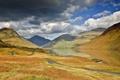 Картинка дорога, осень, облака, горы, тучи, озеро, отражение