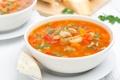Картинка суп, фасоль, еда, овощи, зелень, обед, хлеб