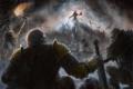 Картинка арт, лестница, маг, факел, битва, diablo III