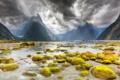 Картинка вода, пейзаж, горы, тучи, озеро, камни, Новая Зеландия