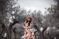 Картинка платье, девушка, фон, стиль, цветы