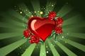 Картинка любовь, красный, зеленый, сердце, розы, арт, love