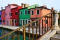 Картинка небо, мост, дома, Италия, Венеция, канал, остров Бурано