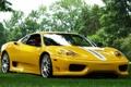 Картинка трава, деревья, желтый, фон, Феррари, Ferrari, суперкар