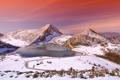 Картинка зима, горы, озеро, вечер, Испания, провинция, Астурия