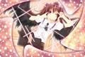Картинка девушка, крылья, звёзды, touhou, anime, art, подмигивает