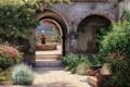 Картинка фонтан, лето, дом, кустарник, деревья, растения, окно