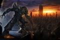 Картинка небо, гнев, город, Трансформеры, АРТ, Megatron, Transformers