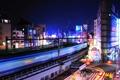 Картинка ночь, огни, здания, Токио, deviantart, burningmonk, железнодорожная станция Ueno